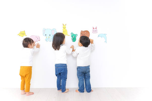 Children playing at kindergarten stock photo