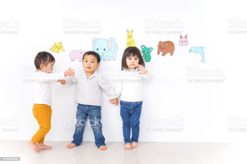 Children playing at kindergarten stock photo