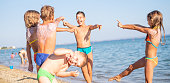 Kids having fun together at the beach