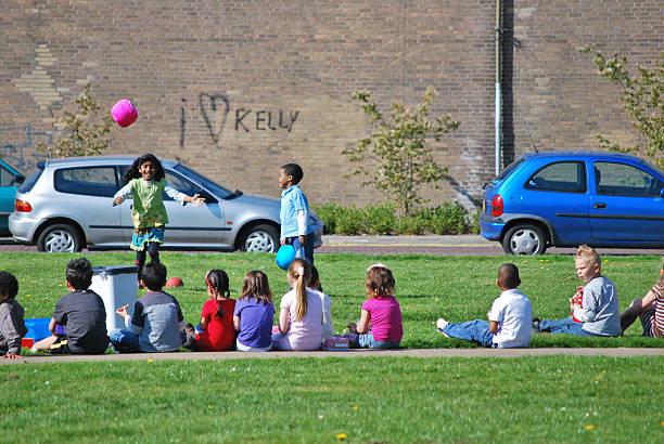 Children playing ball, Voorburg, The Netherlands stock photo
