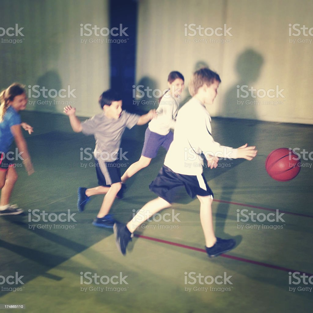 Children playing basketball royalty-free stock photo