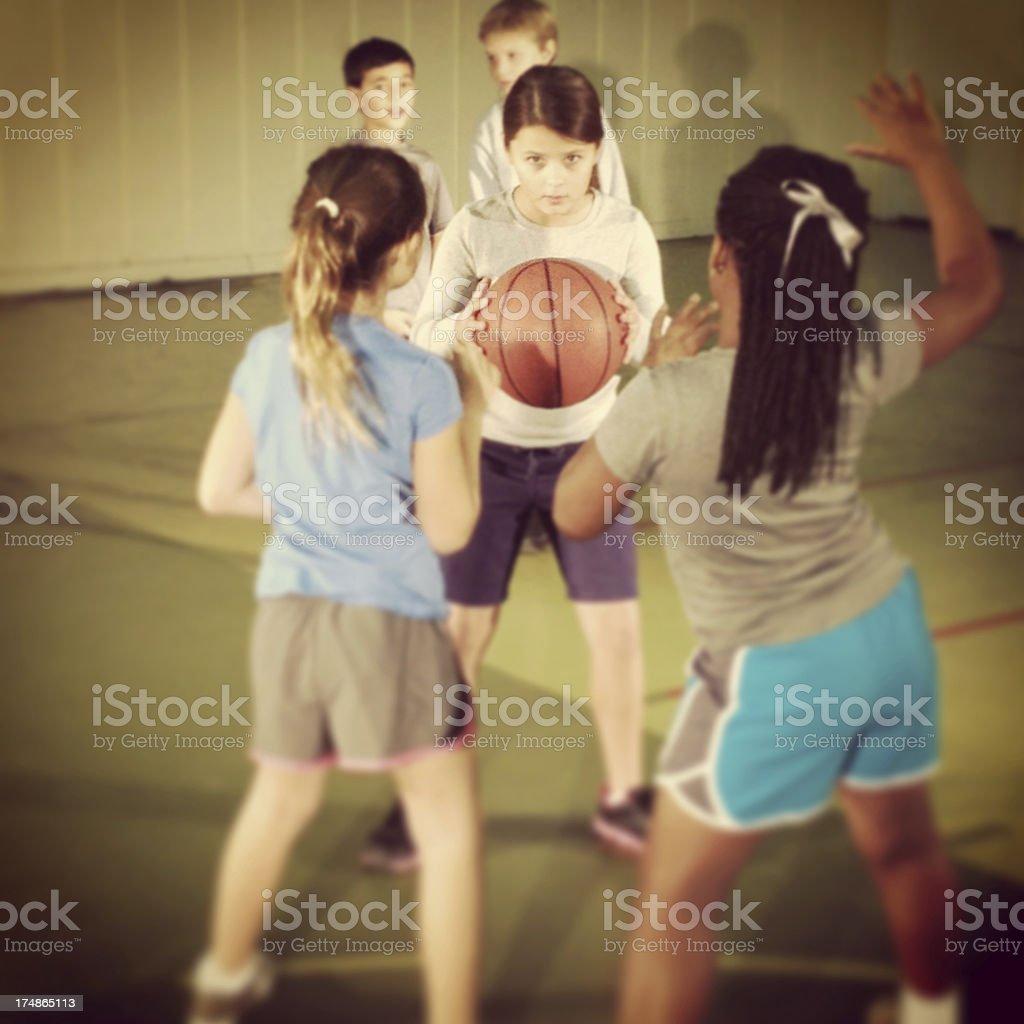 Children playing basketball royalty-free stock photo