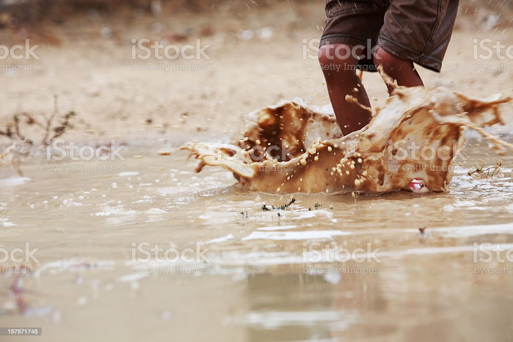 Children Playing Freedom Rainwater Puddle Splashing royalty-free stock photo