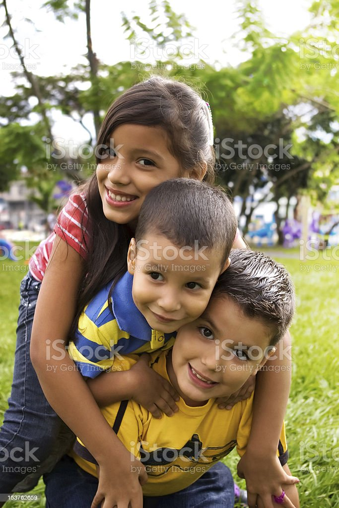 Children playing horse stock photo