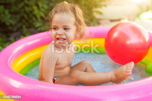 467327992istockphoto Children playing in inflatable baby pool. Kids swim and splash in colorful round pool Happy little girl playing with water toys on hot summer day. Family having fun outdoors in the backyard. 1046786694