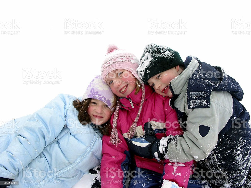 Children playing in snow royalty-free stock photo