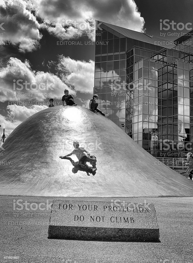 Children Playing on a Popular Halifax Waterfront Sculpture. royalty-free stock photo