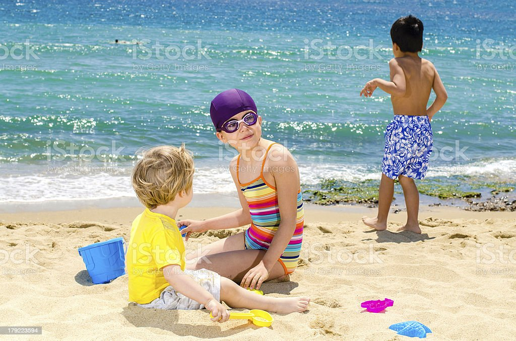 Children Playing on Beach royalty-free stock photo