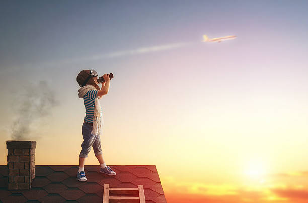 children playing on the roof - binocular boy bildbanksfoton och bilder