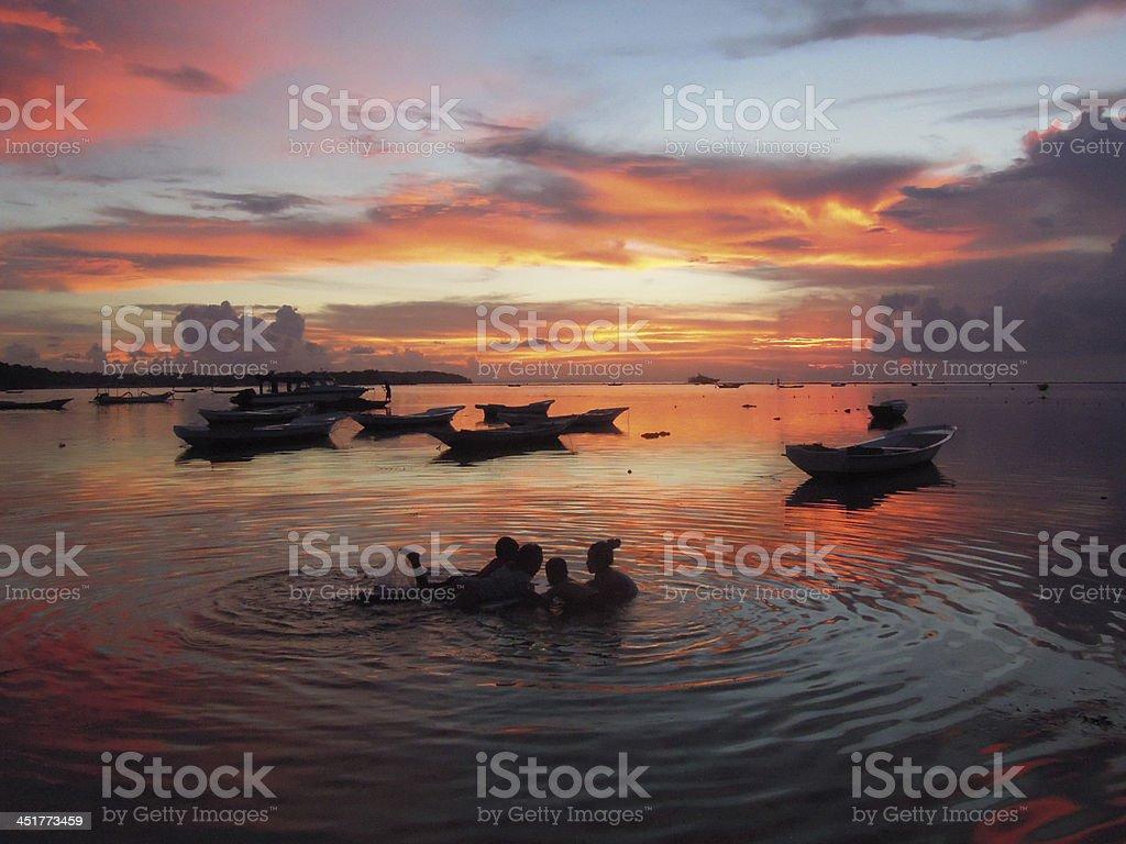 Children playing on the sea at Nusa Lembongan island royalty-free stock photo