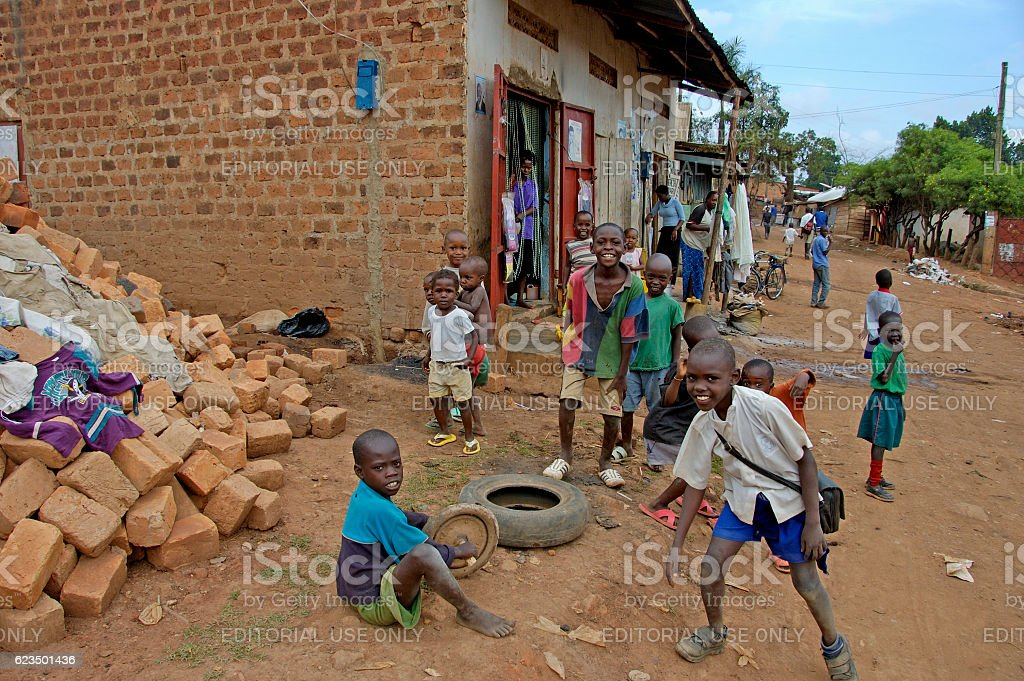 Children playing outside in there neighborhood. stock photo