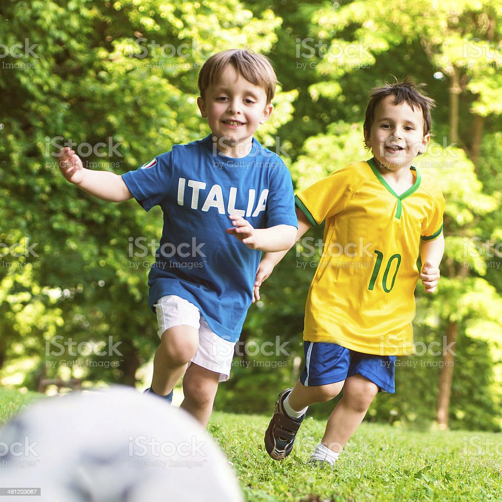 Who And Where Are Brazil Playing This Month And Who Is In: Children Playing Soccer With Italian And Brazilian Tshirt