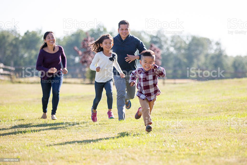 Children Playing Tag stock photo