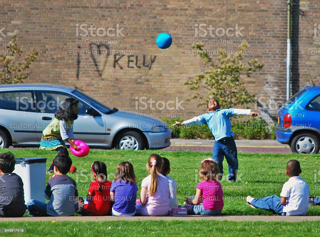 Children playing with balls, Voorburg, The Netherlands stock photo