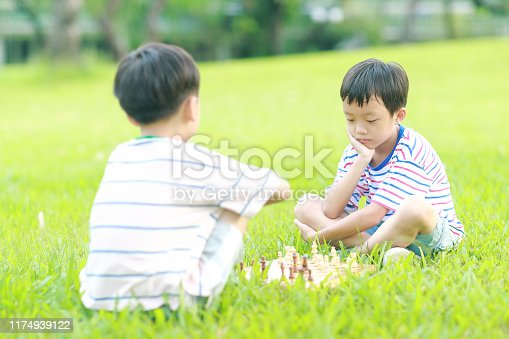 Children playing with chess in the park