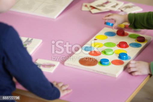 544351868 istock photo Children playing with homemade educational toys 533722736