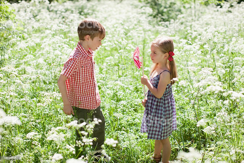 Children playing with pinwheel in field of flowers royalty-free stock photo