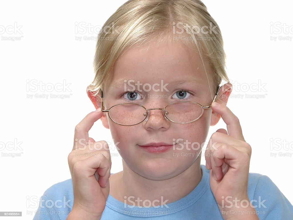 Children: Pushing Up Glasses royalty-free stock photo