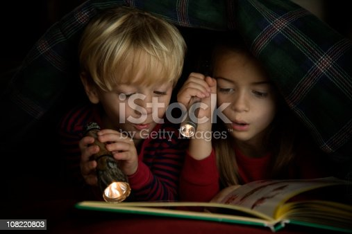 istock Children Reading Book by Flashlight Under Covers 108220803