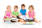 Children Reading Books, Babies Early Education, Kids Boys and Girls White Isolated