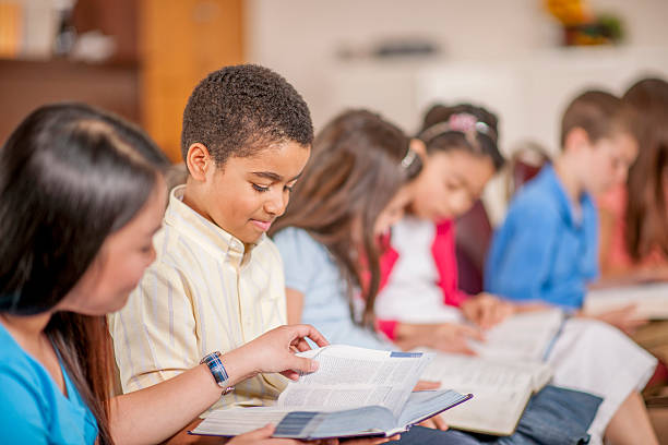 Children Reading Scripture Together stock photo