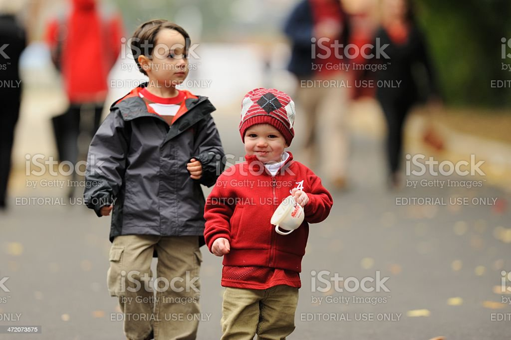 Children ready for football game stock photo