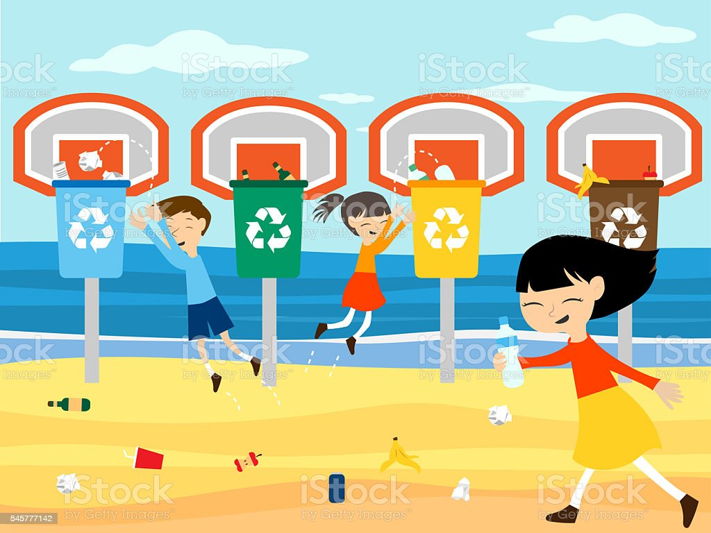 Children recycle playing at basket with recycling bin illustration stock photo