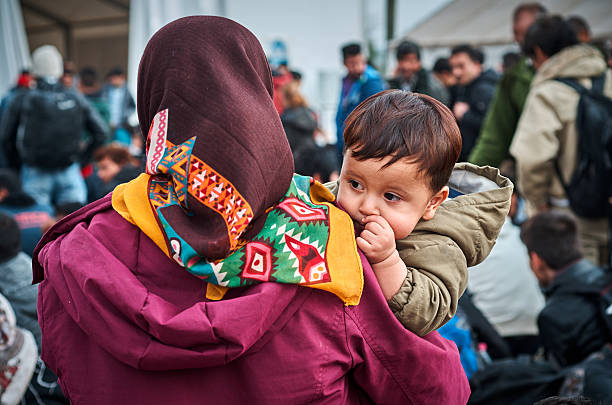 Children refugees stock photo