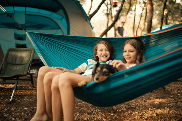 Children relaxing in hammock with dog stock photo