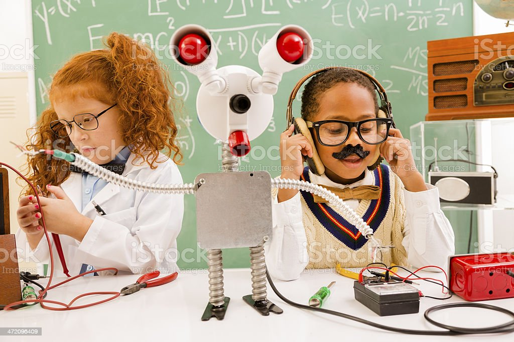 Children: Retro revival scientists.  Electronics and broadcaster. stock photo