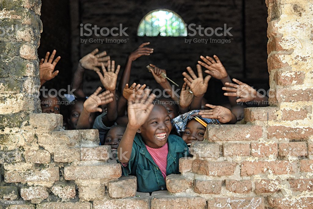 Children say hello from african school stock photo