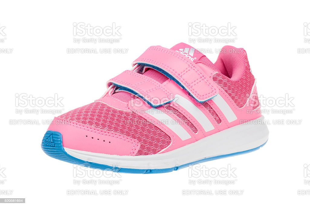 ADIDAS IK SPORT children shoe. Isolated on white. Product shots stock photo