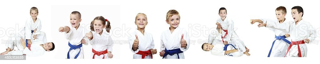 Children show techniques of karate a collage stock photo