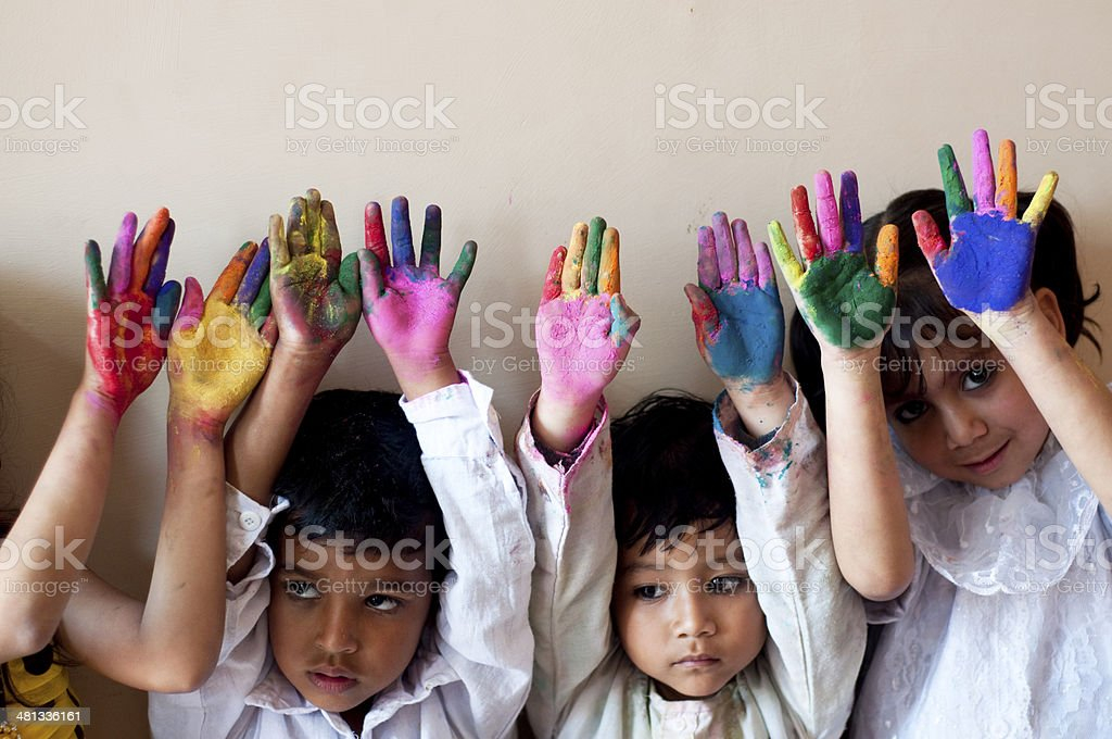 Children Showing Colorful Hands Stock Photo