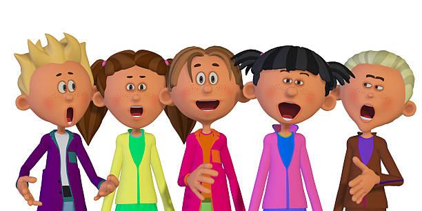 Children singing stock photo