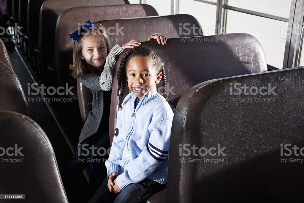 Children sitting inside school bus royalty-free stock photo