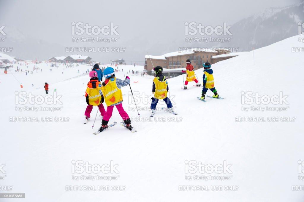 Children Skiing in Samoens, France stock photo