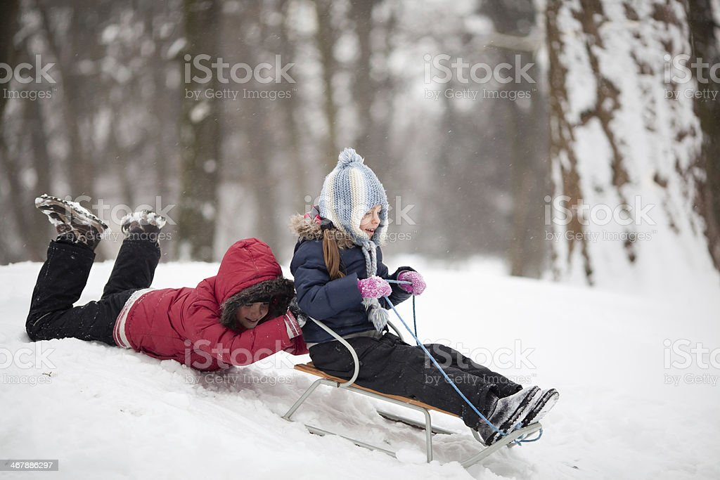 Children sledding on a snowy day in the woods stock photo