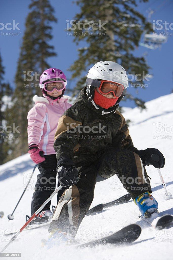 Children snow skiing royalty-free stock photo