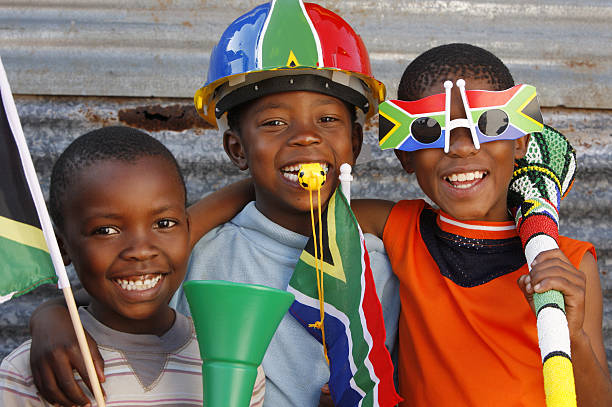 Children soccer fans South Africa stock photo
