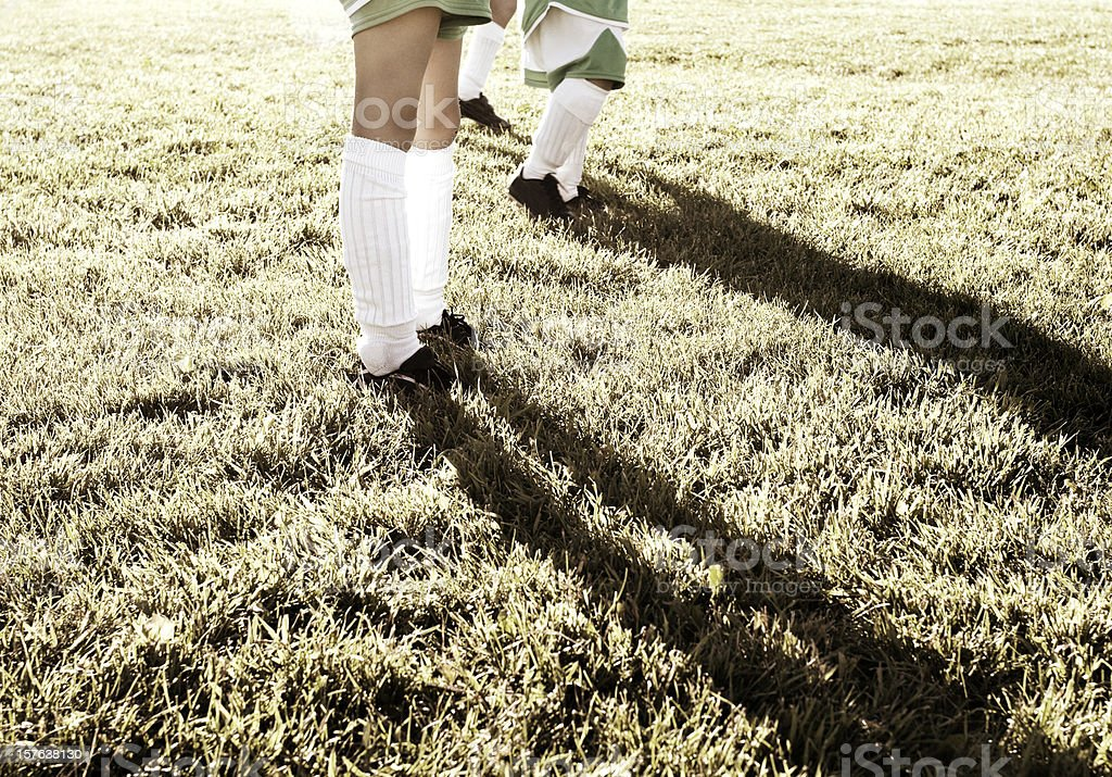 Children, Soccer Players, Twilight Shadows royalty-free stock photo