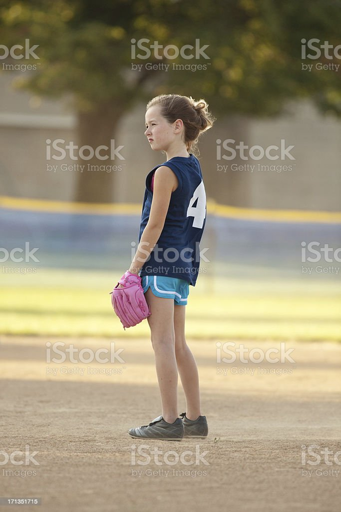 Children Softball Player as Catcher in Tounament Game royalty-free stock photo