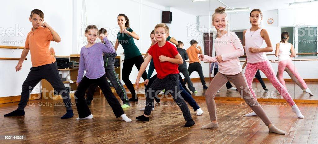 Children studying modern style dance stock photo