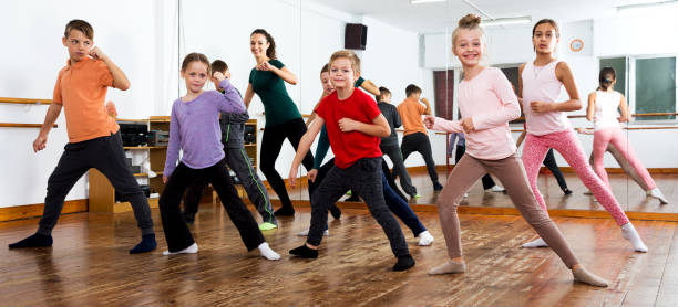 Children studying modern style dance stock photo