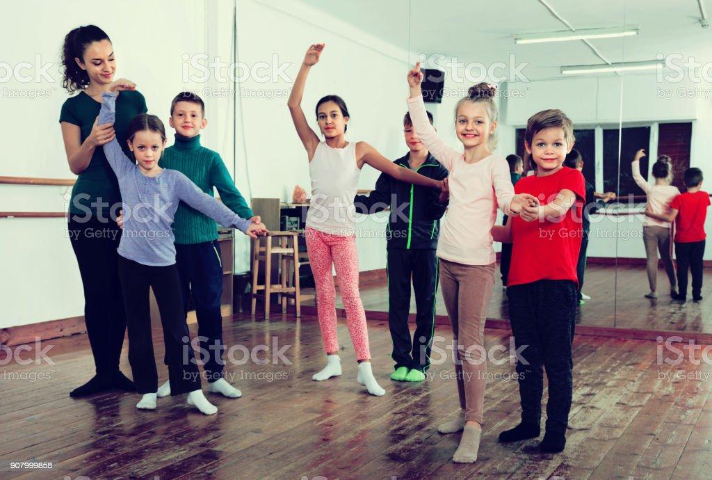 Children studying of partner dance  at dance school stock photo