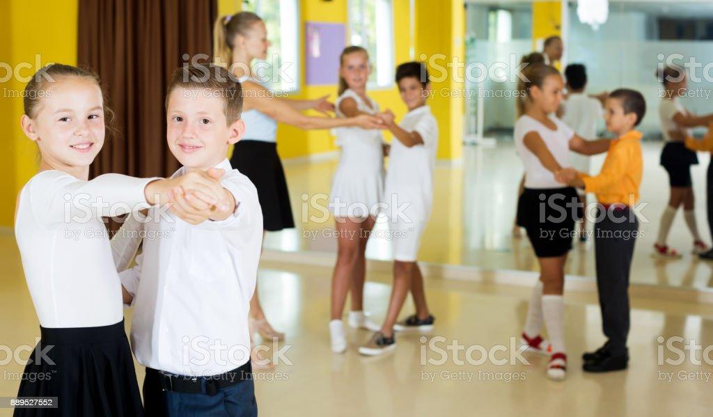 Children studying of partner dance stock photo