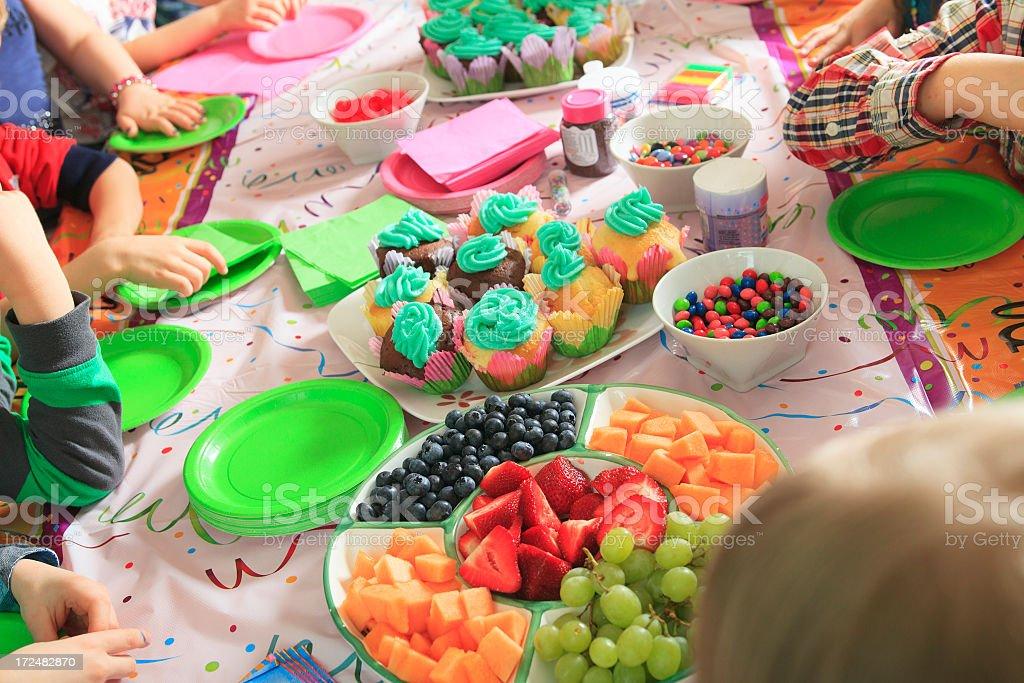 Children Take Decision Fruit or Cake royalty-free stock photo