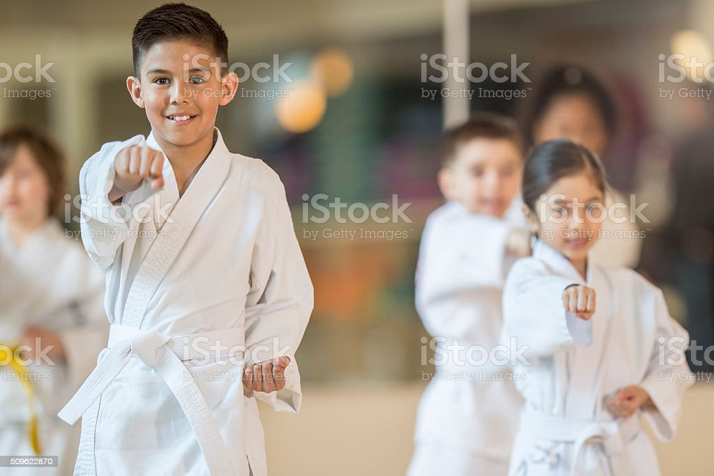 Children Taking a Jujitsu Class stock photo