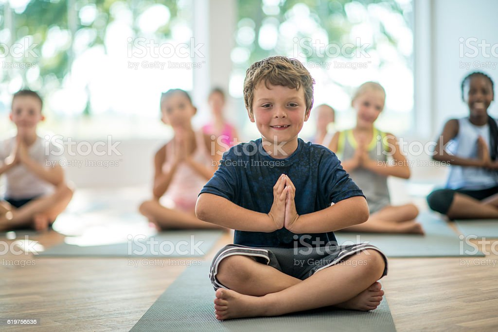 Children Taking a Yoga Class stock photo