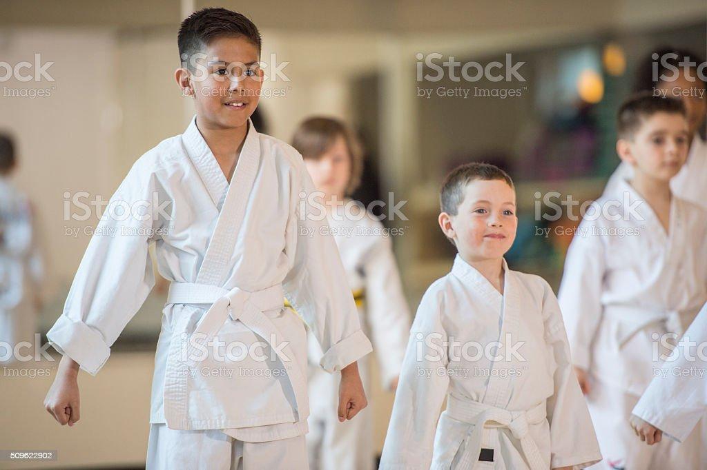 Children Taking Karate stock photo